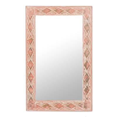 Brass and wood mirror, 'Pink Diamonds' - Diamond Motif Brass and Sese Wood Mirror from Ghana