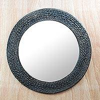 Aluminum and wood mirror, 'Black Scales' - Black Aluminum and Sese Wood Mirror from Ghana