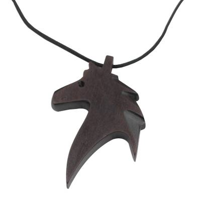 Ebony wood pendant necklace, 'Horse Profile' - Ebony Wood Horse Pendant Necklace from Ghana