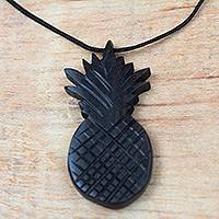 Ebony wood pendant necklace, 'Elegant Pineapple' - Ebony Wood Pineapple Pendant Necklace from Ghana