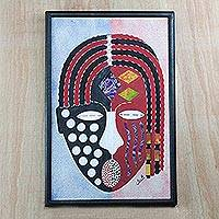 Cotton batik wall art, 'Yaa Asantewaa' - Batik on Cotton Portrait Wall Art from Ghana