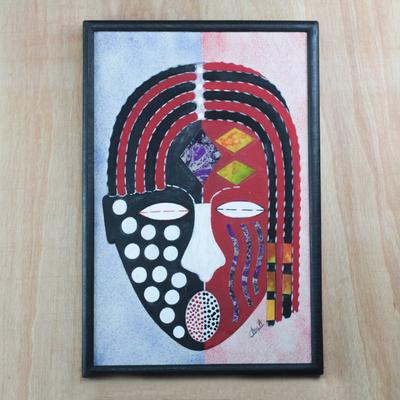 Batik on Cotton Portrait Wall Art from Ghana, 'Yaa Asantewaa'