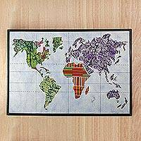 Cotton batik wall art, 'World Map' - Batik on Cotton World Map Wall Art from Ghana