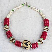 Recycled glass and wood beaded necklace, 'African Roots' - Handcrafted Recycled Glass and Sese Wood Beaded Necklace