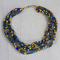 Recycled glass beaded statement necklace, 'Odeshie' - Handmade Recycled Glass Beaded Torsade Statement Necklace