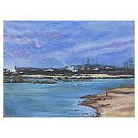'Landscape at Winneba' - Signed Impressionist Seascape Painting from Ghana