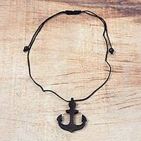 Ebony wood pendant necklace, 'Nautical Anchor' - Ebony Wood Anchor Pendant Necklace from Ghana