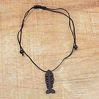 Ebony wood pendant necklace, 'Fish Bone' - Ebony Wood Fish Bone Pendant Necklace from Ghana