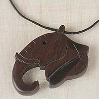 Ebony wood pendant necklace, 'Noble Elephant' - Ebony Wood Elephant Pendant Necklace from Ghana