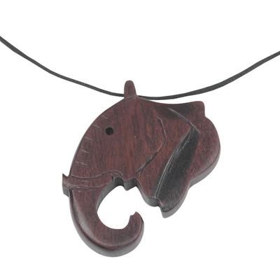 Ebony wood pendant necklace, 'Noble Elephant' - Ebony Wood Elephant Pendant Necklace from Ghana