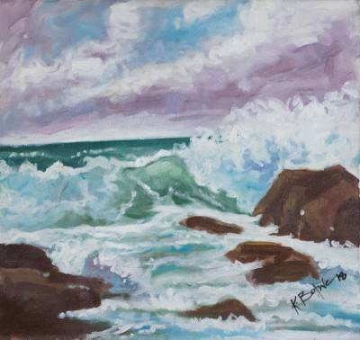 'Seascape' - Signed Impressionist Painting of Ocean Waves from Ghana