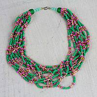 Recycled glass and plastic beaded necklace, 'Field of Tulips' - Pink and Green Recycled Glass Beaded Statement Necklace