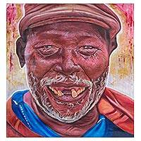 'Golden Gap' - Signed Impressionist Painting of a Laughing Man from Ghana