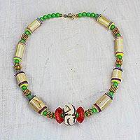 Bamboo and recycled glass beaded necklace, 'Thankful Heart' - Bamboo and Recycled Glass Beaded Statement Necklace