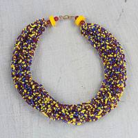 Recycled glass torsade necklace, 'Constellation of Color' - Handcrafted Recycled Glass Torsade Statement Necklace