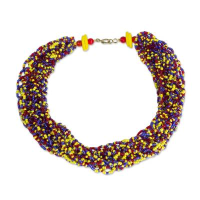 Recycled glass torsade necklace,