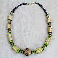 Wood and recycled glass beaded necklace, 'Bamboo Forest' - Handcrafted Bamboo and Recycled Glass Beaded Necklace