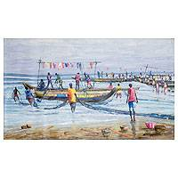 'Arrival of Fishermen' (2016) - Signed Impressionist Beach Painting from Ghana (2016)