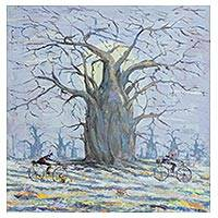'Tree of Life' - Signed Impressionist Tree Painting from Ghana