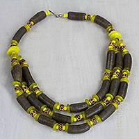 Recycled glass and plastic statement necklace, 'Espresso Empress' - Brown and Yellow Recycled Plastic Beaded Statement Necklace