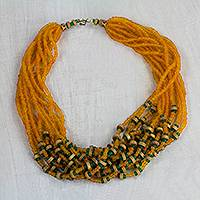 Recycled glass and wood beaded torsade necklace, 'Ginger Blessing' - Orange Recycled Glass and Sese Wood Torsade Necklace