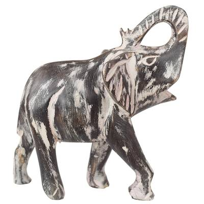 Wood sculpture, 'Whitewashed Elephant' - Whitewashed Sese Wood Elephant Sculpture from Ghana