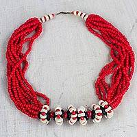 Recycled glass and wood statement necklace, 'Red and White Roses' - Red and White Recycled Glass and Sese Wood Beaded Necklace