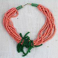 Recycled glass and plastic beaded necklace, 'Peaches and Limes' - Peachy Orange and Green Recycled Glass Statement Necklace