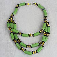 Recycled glass and plastic beaded necklace, 'Green Empress' - Green and Yellow Recycled Plastic and Glass Necklace