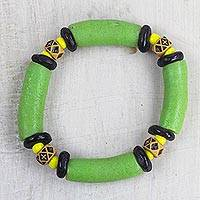 Recycled glass and plastic beaded stretch bracelet, 'Green Empress' - Handcrafted Recycled Glass and Plastic Beaded Bracelet