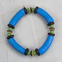 Recycled glass and plastic beaded stretch bracelet, 'Electric Love' - Handcrafted Recycled Glass and Plastic Beaded Bracelet