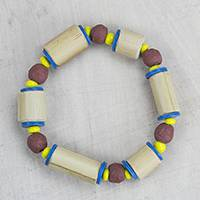 Bamboo beaded stretch bracelet, 'Bamboo Love' - Handcrafted Bamboo Sese Wood Beaded Stretch Bracelet