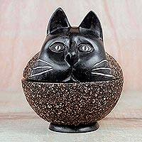 Wood decorative jar, 'Charming Cat' - Sese Wood Decorative Jar of a Cat from Ghana