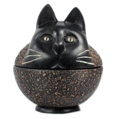 Wood decorative jar, 'Charming Cat' - Sese Wood Decorative Jar of a Cat from Ghana
