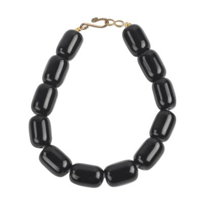 Recycled Glass Beaded Bracelet in Black from Ghana