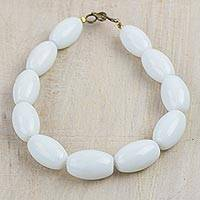 Recycled glass beaded bracelet, 'White Alewa' - Recycled Glass Beaded Bracelet in White from Ghana