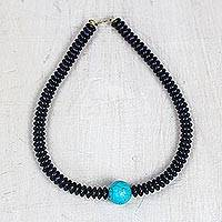 Recycled glass beaded necklace, 'Oceanic World' - Reconstituted Turquoise and Recycled Glass Beaded Necklace
