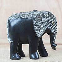 Wood sculpture, 'Gye Nyame Elephant' - Wood Aluminum and Brass Elephant Sculpture from Ghana