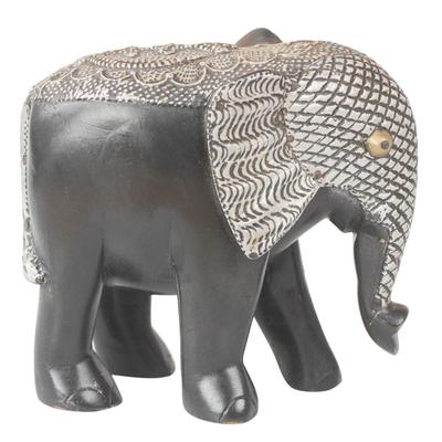 Wood Aluminum and Brass Elephant Sculpture from Ghana