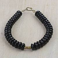Recycled glass beaded bracelet, 'Dark Alewa' - Recycled Glass Beaded Bracelet from Ghana