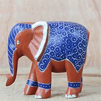 Wood sculpture, 'Elephant Fashionista' - Blue and Orange Sese Wood Elephant Sculpture from Ghana