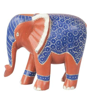 Blue and Orange Sese Wood Elephant Sculpture from Ghana