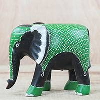 Wood sculpture, 'Elephant Lineage' - Green and Black Sese Wood Elephant Sculpture from Ghana