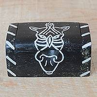 Wood decorative box, 'Zebra Keeper' - Zebra Motif Sese Wood Decorative Box from Ghana