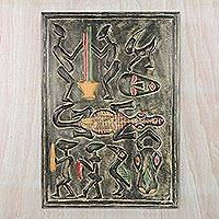 Wood relief panel, 'Dogon Culture' - Dogon-Themed Sese Wood Relief Panel from Ghana