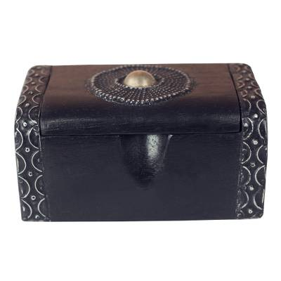 Circle Motif Sese Wood Decorative Box from Ghana