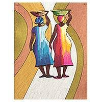 Silk wall art, 'From the Stream' - Silk Wall Art of Two African Women from Ghana