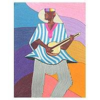 Silk wall art, 'Local Guitar Player' - Silk Wall Art of an African Guitarist from Ghana