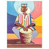 Silk wall art, 'A Drummer' - Silk Wall Art of an African Drummer from Ghana