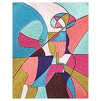 Silk wall art, 'In the Minds of Men Reside Women' - Colorful Abstract Silk Wall Art from Ghana